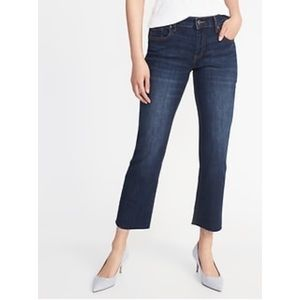 Old Navy Cropped Flare Mid Rise Frayed Hem Jean